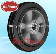 European style heavy duty caster elastic rubber molded on Aluminum center wheel