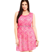 Sleeveless plus size dress with lace