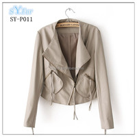 fashion women's PU leather jacket and motorcycles clothing with pockets leather coat and biker jacket PU leathe jacket for girls