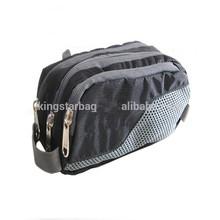 Three Zippered black Waterproof Nylon Travel Cosmetic Bag
