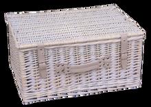 Gris et blanc en osier panier avec couvercle