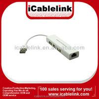 Male to Female USB LAN +USB HUB RJ45 Ethernet 10/100Mbps Network Adapter