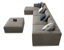 Brown fabric right arm chaise sofa S108
