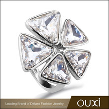 OUXI gorgeous flower shaped crystal silver fashion rings Y70077