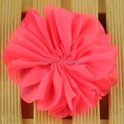 Newest lace blouse material chiffon flower applique