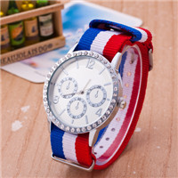 Men and women diamond siliver charming edition stripe fabric diamond nylon belt korean Nato wristwatch