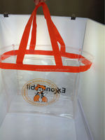 Reusable custom PVC fashion clear plastic handbags for shopping