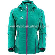 Nuevo diseño de impresión de tela de esquí desgaste en ski& nieve las mujeres chaqueta de encargo