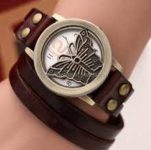 Fancy Women's Round Case Leather Belt Watch Ladies Butterfly Pattern Dial