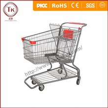 80L American metal shopping cart with bottom tray