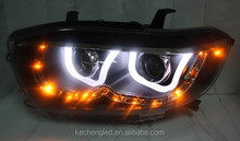 China Car accessaries 2008-2012 year Highlander LED U Type Angel Eyes Headlight LED Double Color LD For TOYOTA