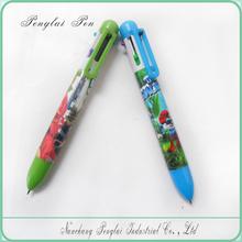 6 IN 1 plastic pen for children 6 color ink pen popular in Japan 2015