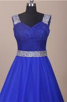 RR1593 colorful wholesale crystal bead long elegant Cap Sleeve sexy long royal blue evening dress