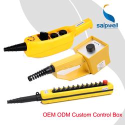 High Quality Control Box Waterproof IP65 4 Pushbuttons Many Size Custom Saip Saipwell Handheld Electrical Pushbutton Control Box