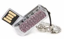 Fashion Mini Swarovski Crystals Keychain Jewelry USB Flash Memory Drive+gift Box