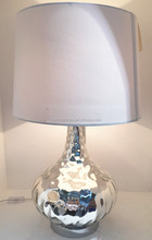 wholesale metal base silver table lamp with onion shaped and white barrel fabric lamp shade