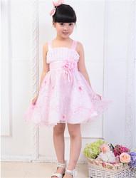 pink dress korean style elegant child dress, beautiful flower maxi dresses good turkey wholesale children clothing