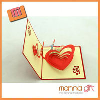 Hot sale cards 3d love cards handmade heart shape greeting card designs