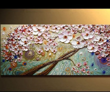 100% Hand-painted modern home decor wall art picture white pink flowering cherry thick palette knife oil painting on canvas