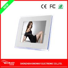 "China OEM wall mount digital frame 15"" LCD screen clock/calendar image frame acrylic engraved photo frame"