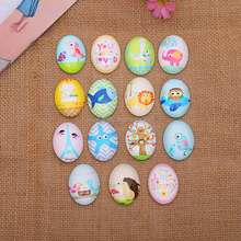 Oval Glass Cabochon Cartoon mix Animal Tree Glass Dome jewelry finding DIY Accessories