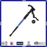 made in China good quality good price 3 sections or 4 sections anti shock aviation Alu T shape handle hiking stick