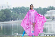 Fashion style pinkl /red rain wear /raincoat/rain poncho