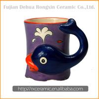 Whale design 3D cartoon animal ceramic new bone china travel mug