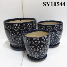 Black ceramic decorative large glazed ceramic pots garden