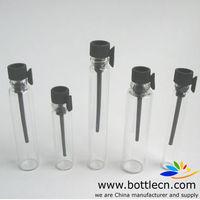wholesale 100pcs/lot 0.5ml/1ml/2ml/3ml mini small perfume vials testers glass bottle with black/white plastic stopper