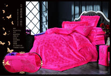 Made in China duvet cover set lace printed purple silk bedding set