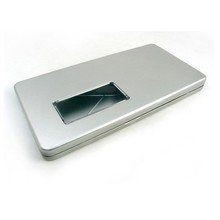 silver embossed hinged metal pencil tin case with window