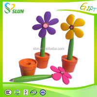 Fashion promotional custom logo bright color flower pen
