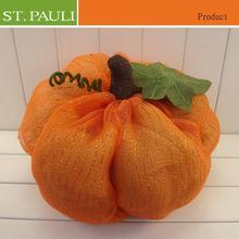 hot selling halloween falll table decorative orange mesh fabric stuffed pumpkin