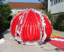 Best selling!!!wedding event decoration inflatable customized/red and white inflatable lotus flower/13ft/4M W1008
