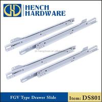 Telescopic rail side mount plastic drawer slides