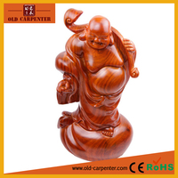 2015 wooden handicrafts antique carving laughing buddha statue for sale