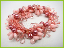 beaded elastic hair band with pearl and plastic beads