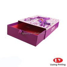 Red color packaging slide cardboard box with ribbon handle design