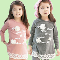 Girls Cotton Floral Top With Dot Ruffle Pant Clothing Sets Wholesale