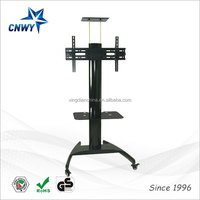Modern mechanical tv lift stand with braked wheels
