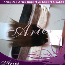 100% Russia Human Hair Weave Double Weft Stitched Remy Hair Weft