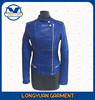 round neck side zipper slim suitable leather jacket for office lady