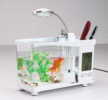 USB mini desktop aquarium with LCD display Clock, Calendar, Alarm, Temperature