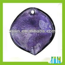 2013 newest purple leaf shaped dichroic beads pendants