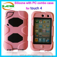 Unbreakable cute 3d silicone and PC combo case for ipod touch4 shuffle 4 4th gen