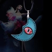 Unique design ethnic style blue eye & moon pendant necklace