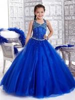 Halter Royal Blue Crystals Beaded Ball Gown Cinderella Flower Girl Dresses, Formal Dresses For Girls 15 Years