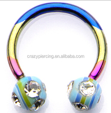 14g Horseshoes Nickel Free Nose Rings With Acrylic Assorted Gem Balls