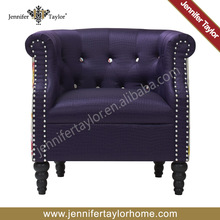 Diseño del hogar tradicional tela púrpura silla del brazo silla